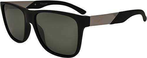 SQUAD Gafas de sol Polarizadas Para hombre y mujer Adulto Cuadradas Clásico Estilo Vintage 100% Protección UV400 Montura Goma Negra Mate