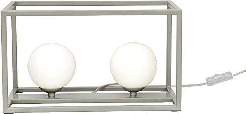 Lámpara de noche viwiv Lámpara de mesita de noche LED moderna Lámpara de mesita de noche Lámpara de plata de metal de acabado de plata Lámpara de lectura con marco de hierro Sombra cuadrada Decoración