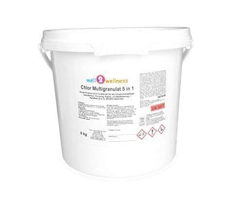 well2wellness Chlor Multigranulat 5 in 1 - hochwirksames Chlorgranulat mit 5 Funktionen 5,0 kg