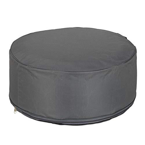 Relaxdays Aufblasbarer Hocker, Outdoor Pouf für Camping & Garten, Sitzhocker rund, Sitzpouf, HxD: 26 x 56 cm, dunkelgrau, 1 Stück