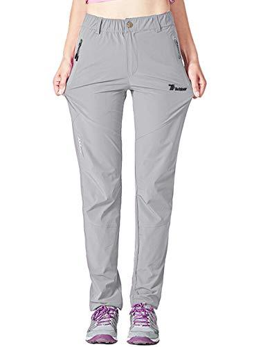 YSENTO Pantalones de senderismo para mujer, de secado rápido, ligeros, elásticos, de trabajo, con bolsillos con cremallera
