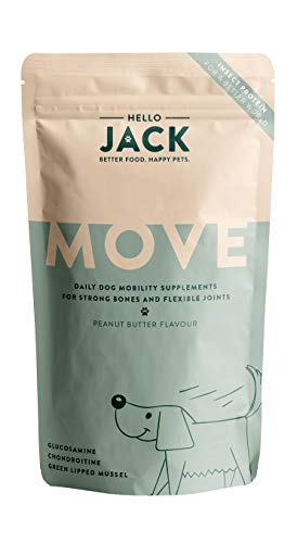 Hello Jack Suplemento para Perros para Movilidad Move- Golosinas para Huesos y Articulaciones - con Mejillones de Labios Verdes  Glucosamina  Condroitina  Cúrcuma  Aceite de Pescado Omega 3 -Dulces