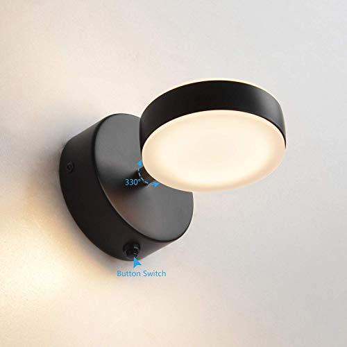 MantoLite wandlamp, moderne badkamerlamp, nachtkastje, leeslamp, spiegellamp, verlichting, artwork, verlichting, bevestiging voor woonkamer, haltrap, aluminium, IP44, 5 W, 15 cm, 3000 K, zwart