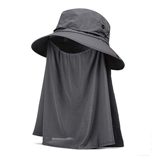 Sonnenschutz Hut Männer und Frauen Sommer Anti-UV große Traufe Fischer Hut im Freien Radfahren Abdeckung Gesicht Staub (Color : A, Size : 56cm-58cm)