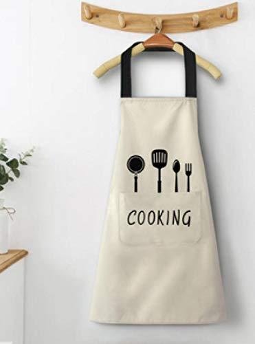 LANGNIU Cocina doméstica Proyección Impermeable y a Prueba de Aceite Linda versión Coreana Japonesa de Hombres y Mujeres de Moda-Chef de algodón Blanco