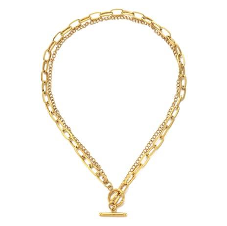 WMYDYBD Nuevo Collar de Cadena de Enlace Multicapa de Acero Inoxidable para...