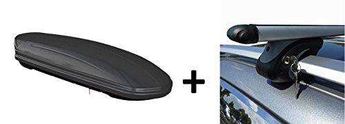 Skibox Dachbox matt schwarz VDP-MAA460M großer Dachkoffer für Ski 460 Liter abschließbar + Alu-Relingträger Dachgepäckträger für Renault Megane Grand Tour KM 03-08