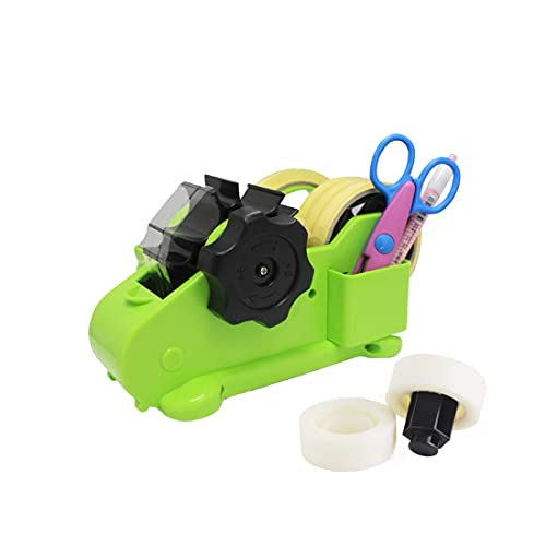 Multi-Roll Semi-Automatic Desk Tape Dispenser - Cut Multiple Tapes to at Once, On/Off Manual Cutter, 2 Cores, Transparent, and Heat Resistant Sublimation Tapes … (M)