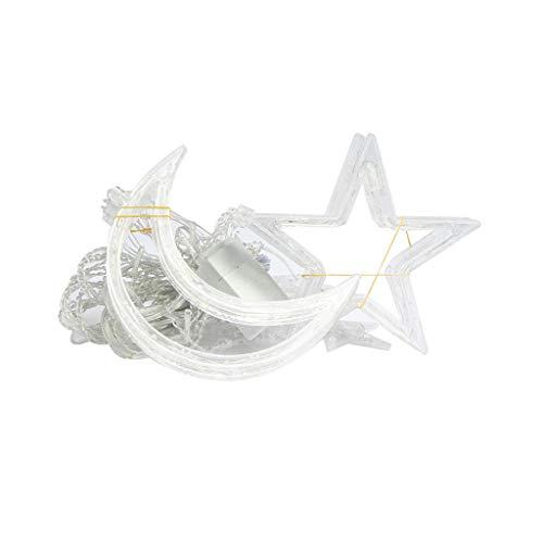 Briszz Led-lampen, 12 stuks, met sterren, kerstverlichting, decoratief gordijn, voor bruiloft, neon, string, Kerstmis, kristallen bol, waterdicht, koperdraad, party, micro lampen, kerstboomversiering