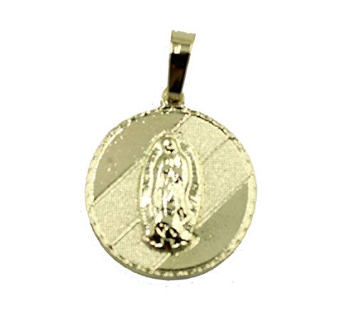 Medalla Redonda de Virgen de Guadalupe de Diamantados de Florida, chapada en Oro de 18 Quilates con Cadena de 50,8 cm