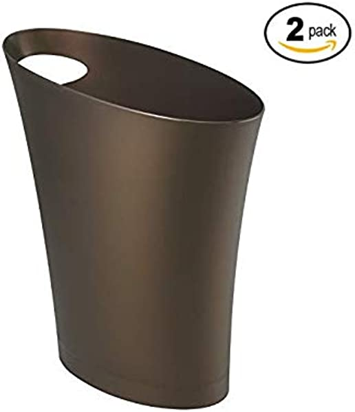 Umbra Skinny Sleek Stylish Bathroom Trash Small Garbage Can Wastebasket For Narrow Spaces At Home Or Office 2 Gallon Capacity Bronze 2 Pack