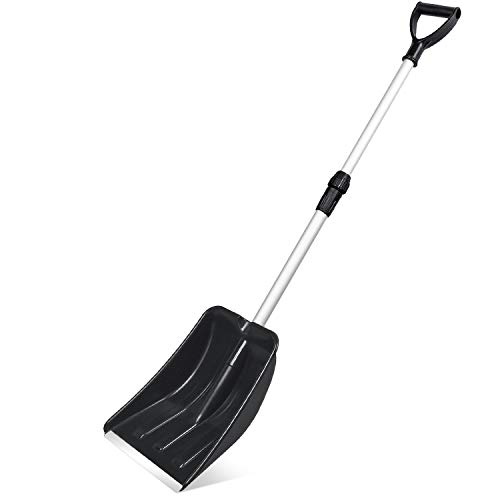 Micbox Snow Shovel with 46'' Adjustable Aluminum Handle 10.5'' Wide Blade Scoop Shovel, Digging Snow Removal Heavy Duty Snow Shovel Perfect for Car Driveway, Camping and Outdoor Emergency