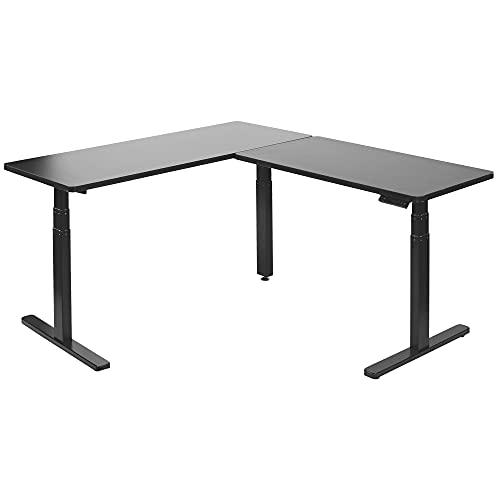 VIVO Electric Height Adjustable 67 x 60 inch Corner Stand Up Desk, Black Solid One-Piece Table Tops, Black Frame, L-Shaped Standing Workstation, DESK-KIT-3E6B
