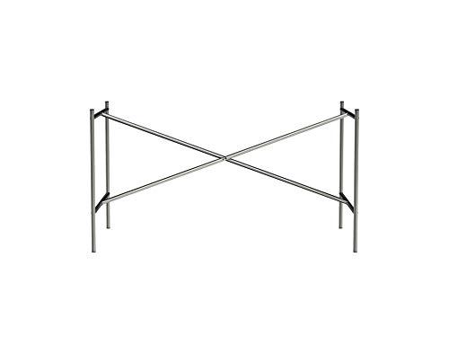 Tischgestell E2, idealer Arbeitstisch oder Zeichentisch (72 x 78 x 135 cm) mit versetzter Kreuzstrebe, Unterbau ohne Tischplatte für Schreibtisch, farblos