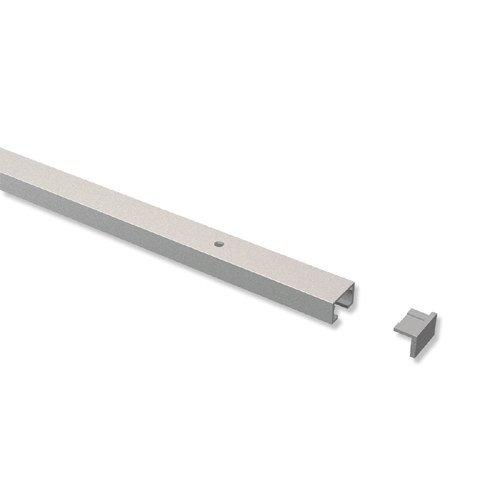 INTERDECO Gardinenschienen vorgebohrt Silber-Grau 1-läufige Vorhangschienen aus Aluminium, Primax, 200 cm