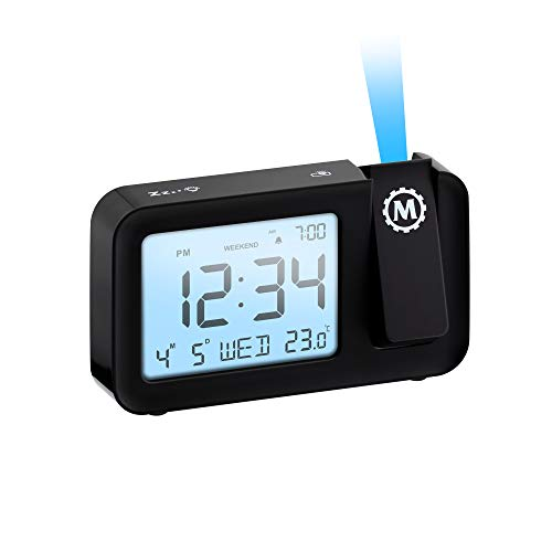 Marathon Night Owl 86 Ceiling Projection Alarm Clock with Backlight Display, Date, Indoor Temperature, Includes USB Charging Cable, AC Power Adapter and Batteries (Midnight Black)
