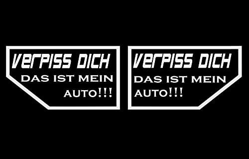 MP Produkt 2er Set Auto Aufkleber Verpiss Dich, das ist Mein Auto!!! Rechts & Links je 9,5x5,5 cm Sticker – Der Neue Aufkleber zu nix nix Karte meins