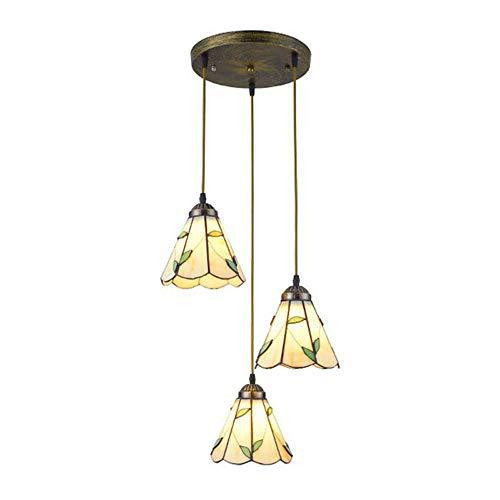 Tiffany - Lámpara colgante de techo de cristal para restaurantes europeos, barra...