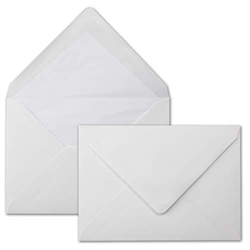 50 Brief-Umschläge Polarweiß - DIN C5 - gefüttert - 90 g/m² - 16,2 x 22,9 cm - Nassklebung mit Spitz-Klappe - hochwertige Kuverts - von Gustav NEUSER