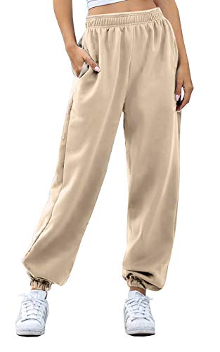 Women's Cinch Bottom Sweatpants Pockets High Waist Sporty Gym Athletic Fit Jogger Pants Lounge Trousers (Beige, Large)
