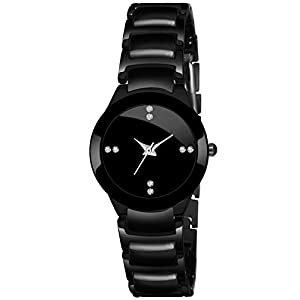 Talgo Analogue Stunning Round Black Dial Latest Generation Stainless Steel Linked Chain Black Coloured Strap Stylish Wrist Watch for Women and Girls, Pack of 1 - IIKBKWMN