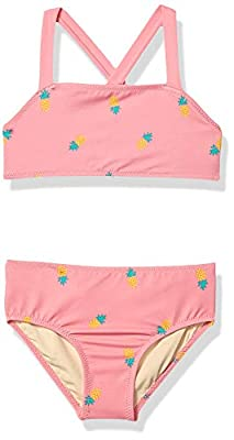 Amazon Essentials Girl's 2-Piece Bikini Set, Pink Pineapple, X-Small