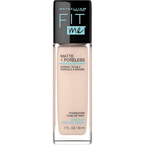 MAYBELLINE Fit Me Matte + Poreless Liquid Foundation Makeup, Natural Ivory, 1 fl; oz; Oil-Free Foundation