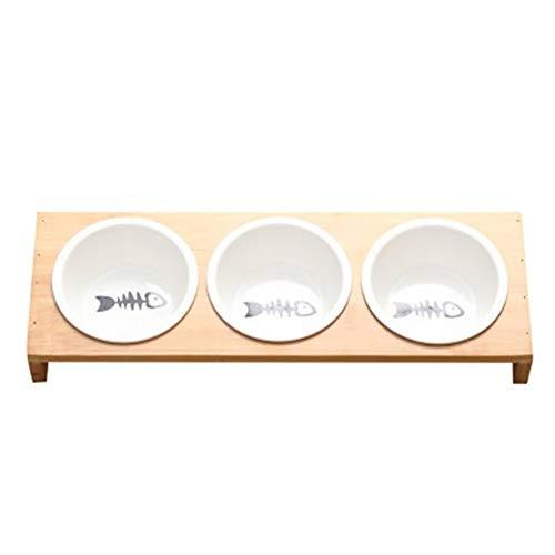 Modieuze hond kat voedernappen kom bamboe servies keramiek hondenvoer waterkom hoge mate anti-skid dierbenodigdheden hond kat bowl Medium