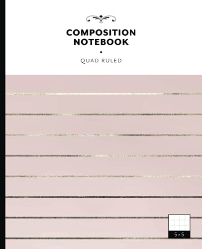 Composition Notebook Quad Ruled: 5x5 Graph Paper ✶ Great for Students and Artists ✶ Aesthetic Cover Design with Art-Deco-Styled Stripes on Pink