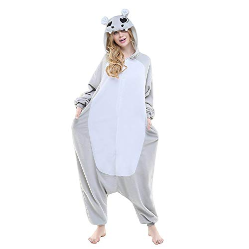 Grey Hippo Cosplayi Onesies Costumes Adult Unisex Animal Cosplay Pajamas