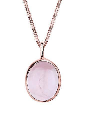 Elli Halskette Damen Oval Anhänger mit Rosenquarz in 925 Sterling Silber Rosé vergoldet