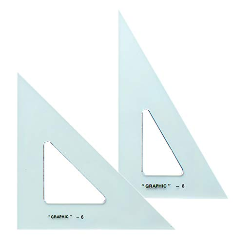 Alvin Transparent Triangle Economical Drafting Tool Set of 2  6 and 8 Inches