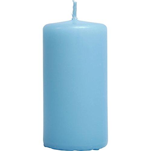 Velas, dia: 50 mm, A. 10 cm, azul turquesa light, 6ud