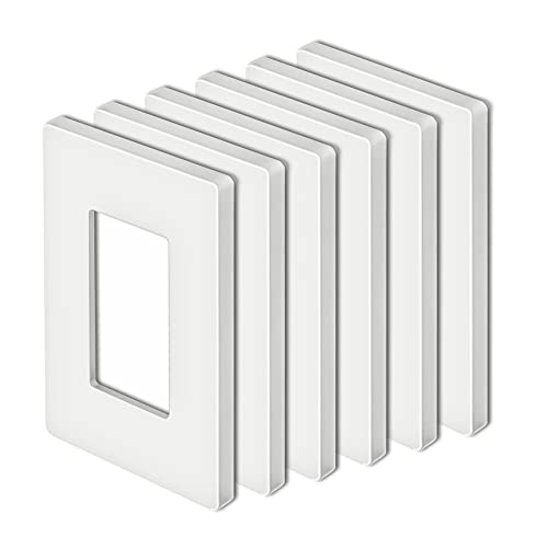 """[6 Pack] BESTTEN Screwless Wall Plate, USWP4 White Series, 1-Gang Decorator Outlet Cover, Smooth and Glossy Switch Plate, H4.69"""" x W2.91"""""""