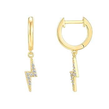 PAVOI 14K Yellow Gold Plated S925 Sterling Silver Post Drop / Dangle Huggie Earrings for Women   Dainty Lightning Bolt Earrings