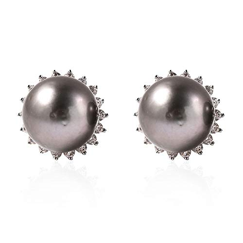 TJC Tahitian Pearl and White Zircon Halo Stud Earrings for Womens in 925 Sterling Silver June Birthstone, TCW 196.5ct