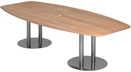 bümö® Konferenztisch rund oval 280 x 130 cm in Nussbaum | Besprechungstisch mit Chromsäulen | hochwertiger Meetingtisch