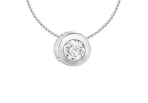 8.16.9223 - Collar de mujer de plata de ley con 1 circonita, 41 cm