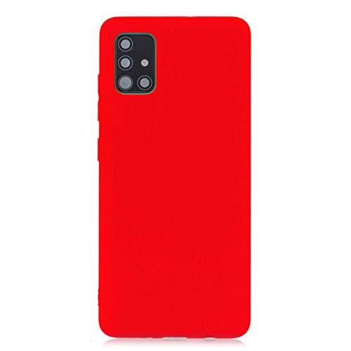 cuzz Funda para Samsung Galaxy A71+{Protector de Pantalla de Vidrio Templado} Carcasa Silicona Suave Gel Rasguño y Resistente Teléfono Móvil Cover-Rojo