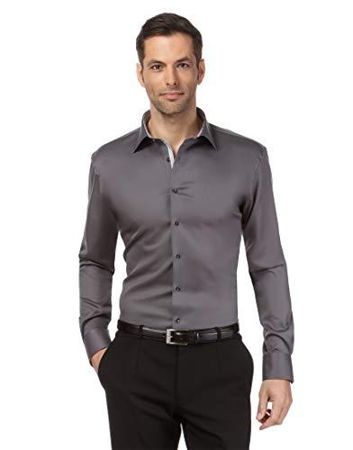 Vincenzo Boretti Herren-Hemd bügelfrei 100% Baumwolle Slim-fit tailliert Uni-Farben - Männer lang-arm Hemden für Anzug Krawatte Business Hochzeit Freizeit dunkelgrau 37-38