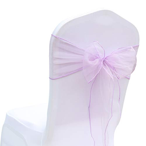 BIT.FLY 50 Pcs Organza Chair Sashes for Wedding Decoration Banquet Party Event Supplies Chair Bows Ties Chair Cover Bands - Lavender