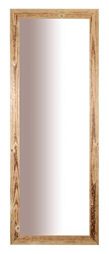 Specchio da Parete con Cornice Rustica in Legno Abete FSC Finitura Naturale Misura Esterna cm. 56x147 posizionabile Sia in Verticale Che in Orizzontale. Made in Italy.