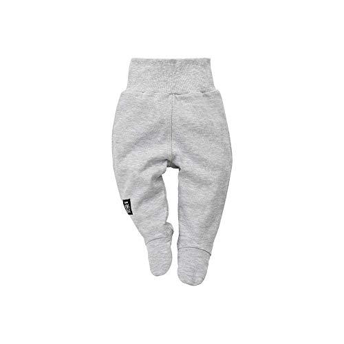 Pinokio - Happy Day – Pantalon pour bébé 100% coton, rayé gris ou noir blanc – Pantalon de jogging, leggings, pantalon de sommeil – Taille élastique avec pieds – Pantalon de grenouillère unisexe - Gris - 6 mois