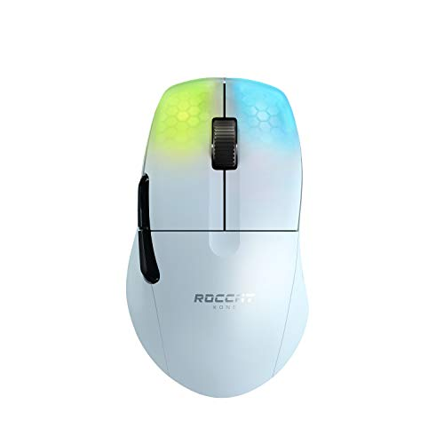 ROCCAT KONE Pro Air Ergonomic Optical Performance Gaming Wireless Mouse with RGB Lighting, White (ROC-11-415-01)