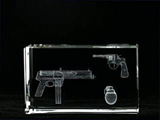 Asfour Crystal 1168-100-35 2.4 L x 4 H x 1.4 W in. Crystal Laser-Engraved Weapons Military Laser-Cut