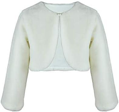 Flower Girl Dress Coat Girl Cozy Faux Fur Bolero Shrug Accessories Princess Cape S Ivory product image