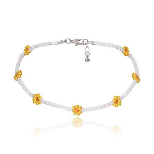 Shangwang - Collar corto perlado hecho a mano colorido, acrílico, flor de margarita, transparente 29
