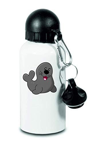 Drucklebnis24 Botella – Sello Animales Acuario Circo – para niños, escuela, deporte, fitness – Botella de agua fina de aluminio, color Blanco, tamaño 500 ml