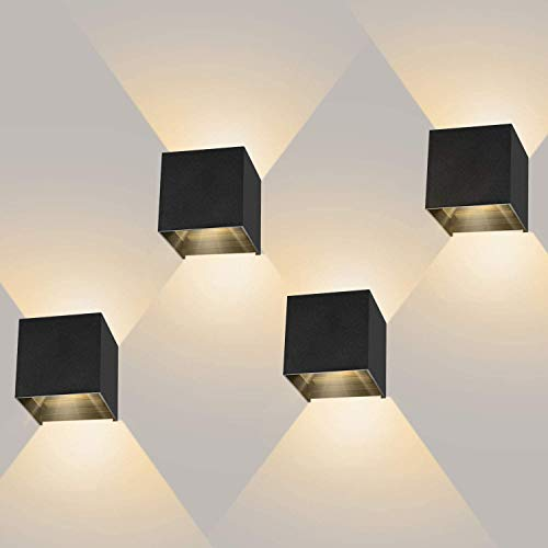 4 Stücke Wandleuchte Led 12W Mit Einstellbar Abstrahlwinkel Wandlampe Innen Warmweiß 2800-3000K LED Wandbeleuchtung IP65 Innen/Außen