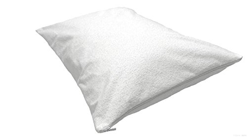 Highliving  Zipped Terry Towelling Waterproof Pillow Protectors Non Noisy Pair Anti Allergy Dust Mite Proof Anti Bacterial